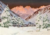 alpine mountain scene by alwin arnegger