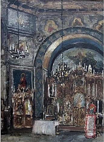a church interior. by boris mikhailovich kustodiev