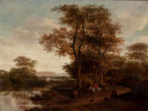 landscape with travelers along a roadway by pieter jansz van asch