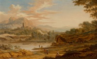 view in italy by johann (jan) christian vollerdt