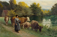 young woman by a stream with cattle by edouard bernard debat-ponsan