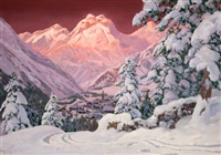 alpine mountain scene by alwin arnegger