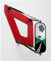 landscape on bus mirror by allan d'arcangelo