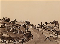 anglesey village on a winding road by sir kyffin williams