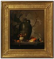 bittersweet, oranges in a green vase by eleanor moore