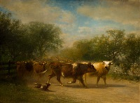 a herd of cattle along a country road by james mcdougal hart