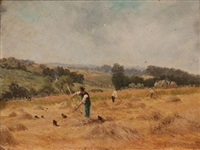 farmers on a hillside (pair) by strafford newmarch