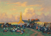 church festival in brittany by mathurin janssaud