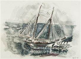 movement: boat off deer isle, maine, no. 2, 1926 by john marin