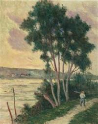 sandrecourt, le chemin au bord de la rivière by maximilien luce