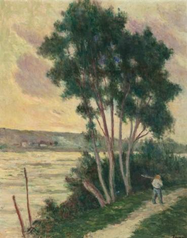 sandrecourt le chemin au bord de la rivière by maximilien luce