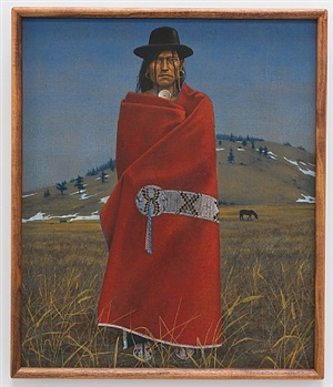 native american with red blanket by antoine tzapoff
