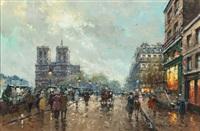 les bouquinistes, notre dame, quai st. michel by antoine blanchard