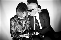italy. milan. february 2008. karl lagerfeld and anna wintour chat backstage of the fendi show. by christopher anderson