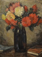 still life with blue vase of dahlias by leonid osipovich pasternak