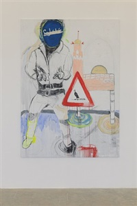 reclining man with sculpture (2) by mounira al solh