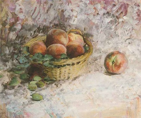 still-life with peaches by henri lebasque
