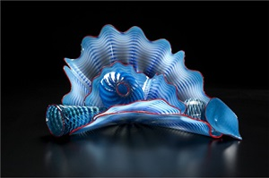 peacock blue persian set with scarlet lip wraps by dale chihuly