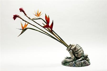 skeleton with flowers 3 by tiago carneiro da cunha
