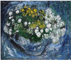 summer flowers in a blue dish by anne redpath