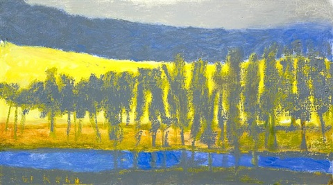 trees in a gray blue mode by wolf kahn
