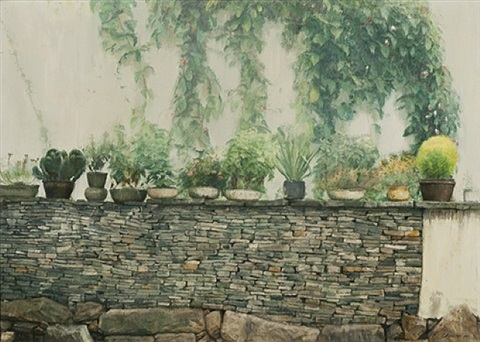 garden courtyard, suzhou china by chen yifei