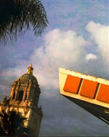 beverly hills city hall & union 76 gas station, crescent and little santa monica, beverly hills by jim mchugh