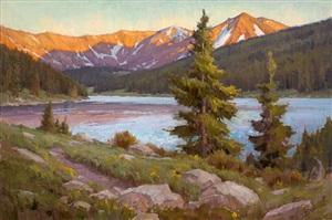 sunset lake by chris morel