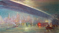 new york skyline with bridge by johann berthelsen