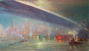 new york skyline with bridge by johann berthelsen