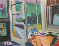 reclining nude reading in the studio by maurice freedman