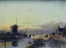 winter landscape by charles henri joseph leickert