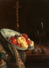 still life with dutch bowl and purple plums by florence travers
