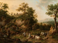 landscape with cowherd and shepherdess by henri-joseph antonissen