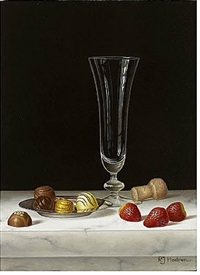 chocolates on a silver dish with strawberries by roy hodrien
