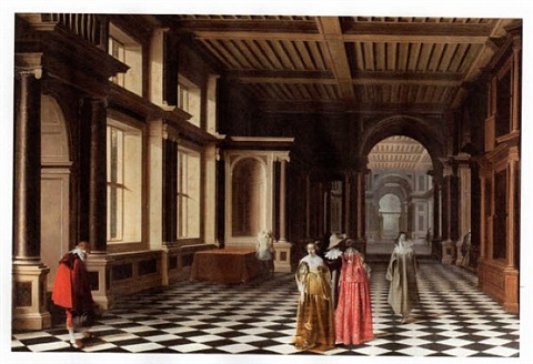 elegant figures in a classical colonnaded gallery by monogrammist pw and willem cornelisz duyster