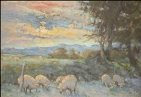 golden sunset from the bathroom window, llwynhir by diana armfield