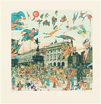 london-picadilly circus, the convention of comic book charakters by peter blake