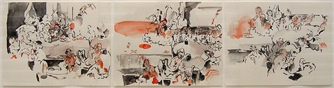 "3 studies after ""an election: an election entertainment"" by william hogarth by cecily brown"