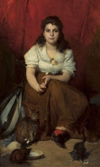 portrait of a young girl with a mandolin and cats by franz rumpler