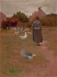 french woman feeding her geese by alexis jean fournier