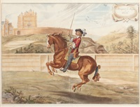equestrian scenes (set of 4) by j. w. snow newcastle