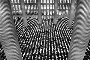 mosque of istiglal, jakarta, from the series migrations by sebastião salgado