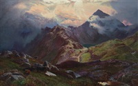 snowdon (from above llyn llydow, north wales) by sidney richard percy