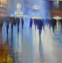 grand central station, blue silhouettes (sold) by david allen dunlop