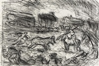 bullfight in a village by leon kossoff