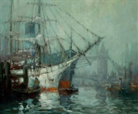 harbor scene by george thompson pritchard