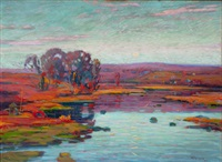 landscape with trees and pond at sunset by william greason