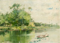 river scene (double-sided painting) by oliver dennett grover