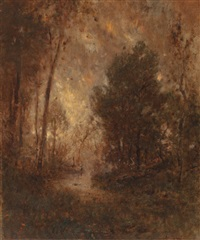 wooded stream (golden sunset) by alexander helwig wyant
